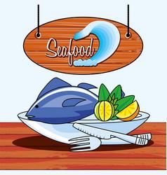delicious fish sea food with lemon vector image