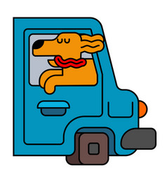 Dog from car window pet to ride in auto traveling vector