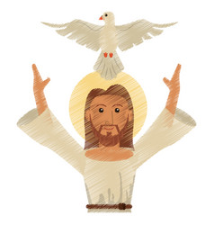 Drawing jesus christ holy spirit design vector