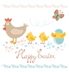 Easter card with chicken and chicks vector