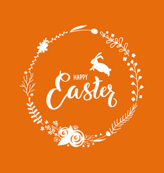 Easter floral wreath with a rabbit vector