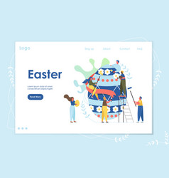 Easter landing page web site template with cartoon vector