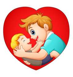 father holding his son with in heart shaped vector image