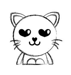 Figure enamored cat adorable feline animal vector