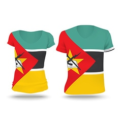 Flag shirt design of Mozambique vector