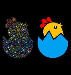 Flare mesh carcass hatch chick icon with flare vector