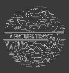 Flat line style travel banner vector