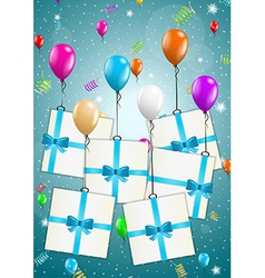 Flying balloons with presents vector
