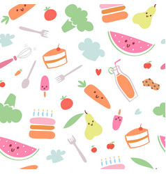 food menu for kids seamless pattern vector image