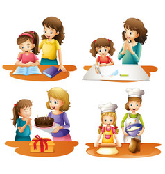 four activities of mother and daughter vector image