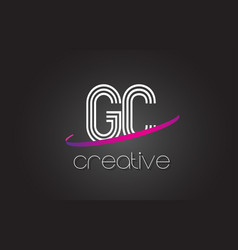 Gc g c letter logo with lines design and purple vector