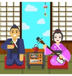 Geisha and samurai tea ceremony vector