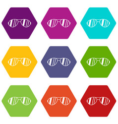 glasses icon set color hexahedron vector image