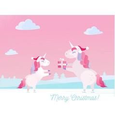 greeting card with text merry christmas unicorn vector image