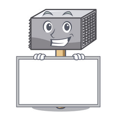 grinning with board character of metallic meat vector image