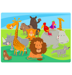 happy animal cartoon characters group vector image
