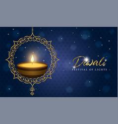 happy diwali light festival card gold diya candle vector image