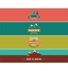 Hiking camp banners backgrounds and elements vector image