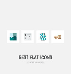 icon flat entertainment set of puzzle table game vector image