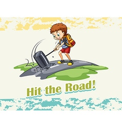 Idiom hit the road vector image