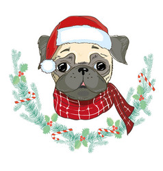 Image of puppy pug in santas hat dog in santa vector