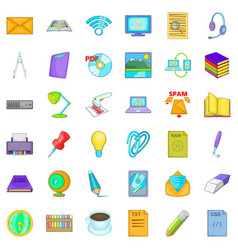 Institutional icons set cartoon style vector