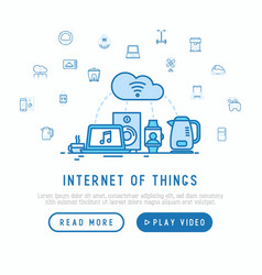 Internet of things concept with thin line icons vector