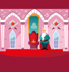 King in castle fairytale with decoration vector