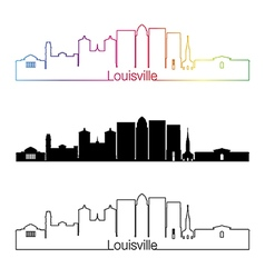 Louisville skyline linear style with rainbow vector