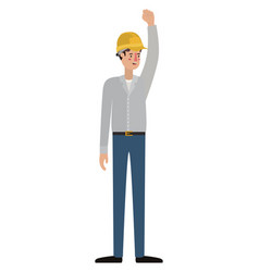 man builder with hand up avatar character vector image