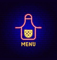 Menu neon label vector