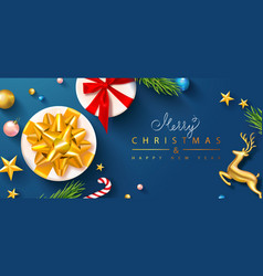 merry christmas and happy new year banner template vector image