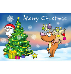 Merry Christmas greeting card santa claus hidden vector