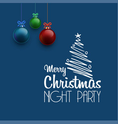 merry christmas night party haning ball background vector image