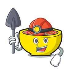 Miner soup union mascot cartoon vector