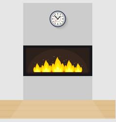 Modern built-in fireplace vector