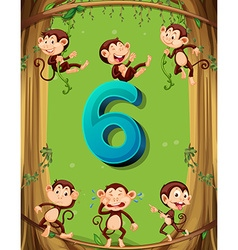 Number six with 6 monkeys on the tree vector