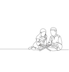 one continuous line drawing muslim and vector image