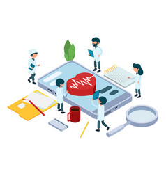 online diagnosis concept isometric medical team vector image