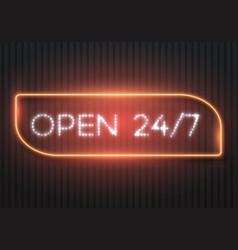 Open 24 hours glowing neon sign vector