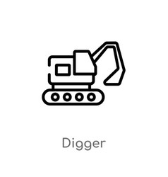 Outline digger icon isolated black simple line vector