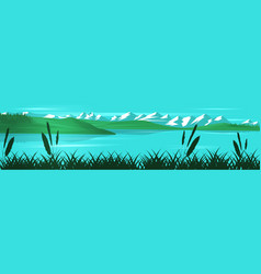 Panoramic landscape with mountains hills vector