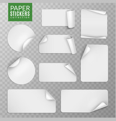 paper stickers set white label sticker page vector image