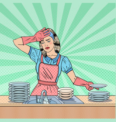 pop art housewife washing dishes at kitchen vector image