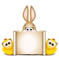 Postcard design template Easter bunny with two vector image