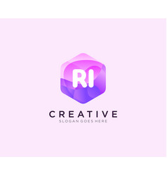 Ri initial logo with colorful hexagon modern vector