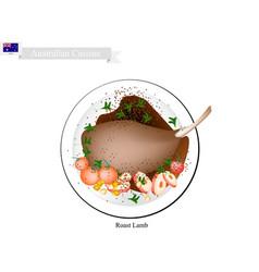 Roasted lamb legs the popular dish of australia vector