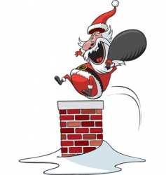 Santa down chimney vector image