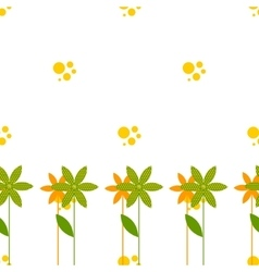 seamless pattern with cartoon flowers bubbles vector image