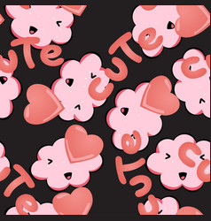 Seamless pattern with kawaii pink clouds vector